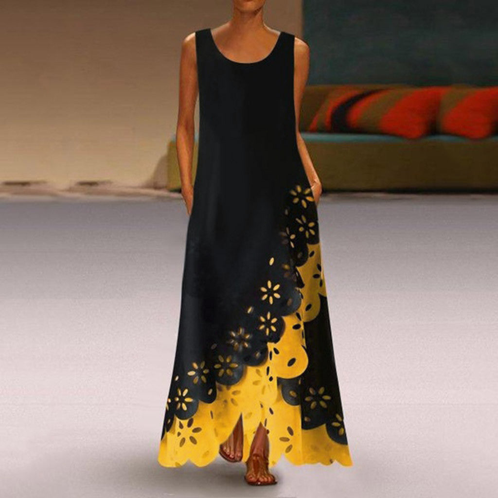 Black Maxi Dress with a Colorfull Flowy Accent