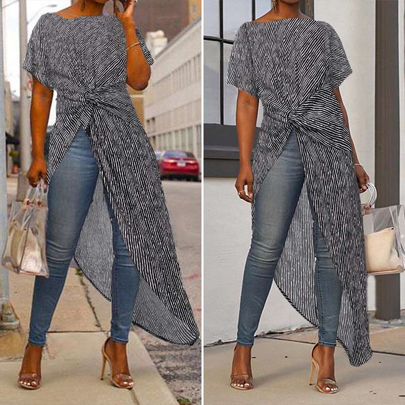 Asymmetrical Maxi Blouse with Split