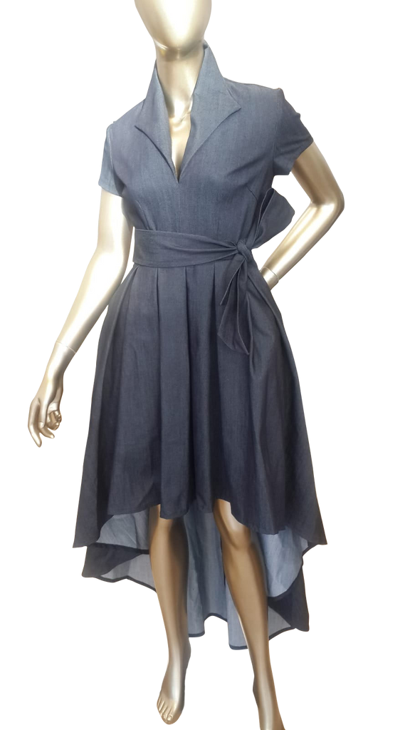 High-Low Hem Denim Dress that Flatters a Female Body