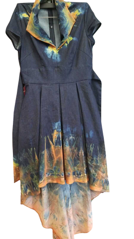 High-Low Hem Tie Dye Denim Dress that Flatters a Female Body
