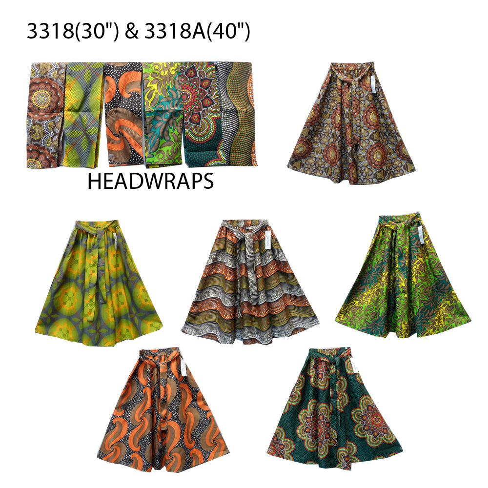 Handmade Midi/Maxi African Print Cotton Skirt with headwrap