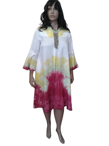 Linen Dress with Tie Dye Accents