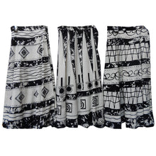 Long Black and White Wrap Skirt 100% Cotton