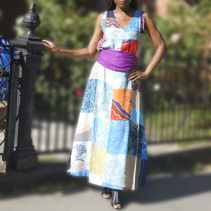 Moroccan Magic Dress in Patched, Denim and Flower Patterns