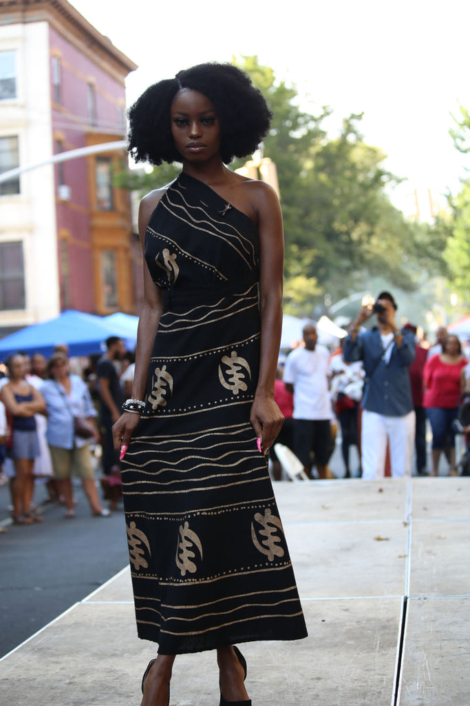 Wrap Skirt Dress with Adinkra symbol 100% Cotton