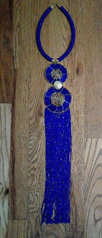 African Beaded Necklace Blue