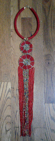 African Beaded Necklace Red
