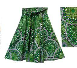 African Wrap Floral Print Cotton Maxi Skirt