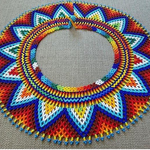 Beads that Speak Sunflower Blue - One of a Kind Native American Handmade Necklace