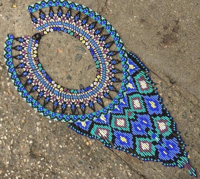 Beads that Speak Signs of Blue - One of a Kind Native American Handmade Necklace