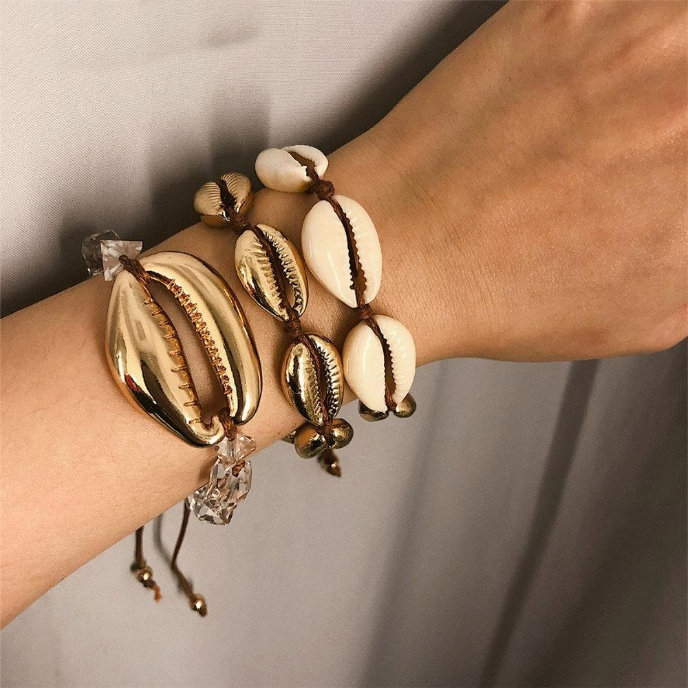Cowrie Shell Bracelet set in natural and gold