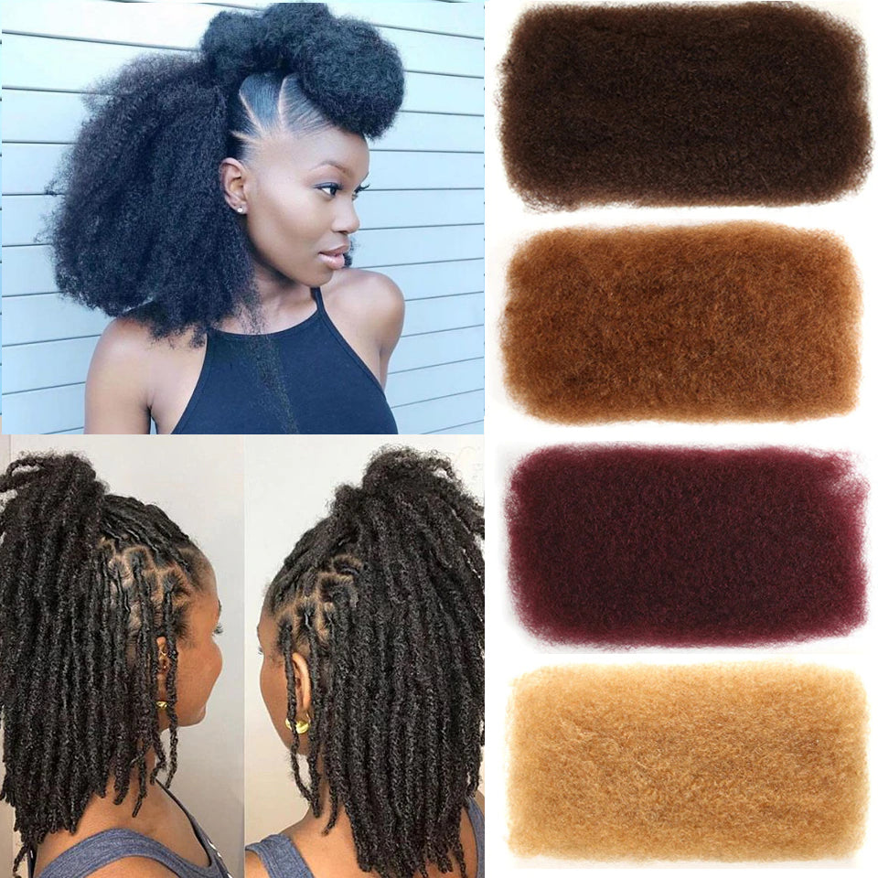 Afro Kinky Bulk Human Hair for Locs & Braids - Remy Peruvian color #4