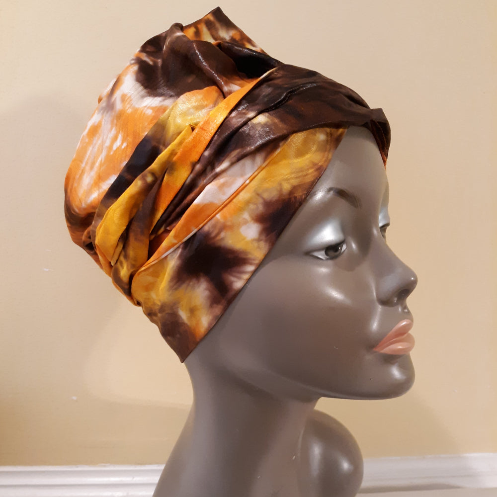 The Multi-Wear Magic Head Wrap Shiny Brocade Yellow Brown