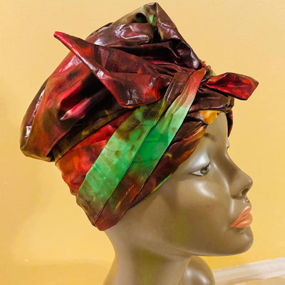 Multi-Wear Magic Head Wrap Shiny Brocade Red Green