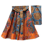Colorful African Print Cotton Skirt with a wrap