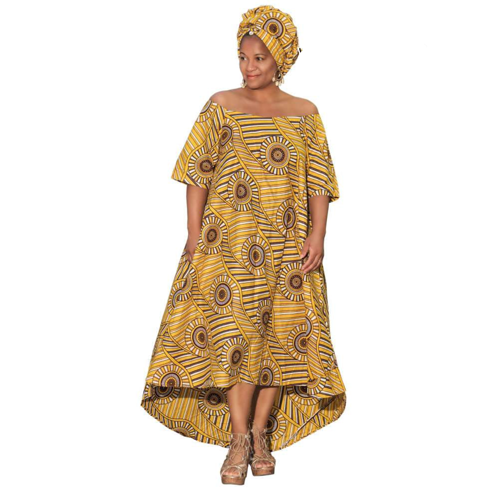 High Low Hem Off Shoulder Dress With Matching Head Wrap