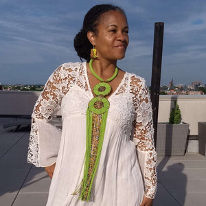 African Beaded Necklace Green