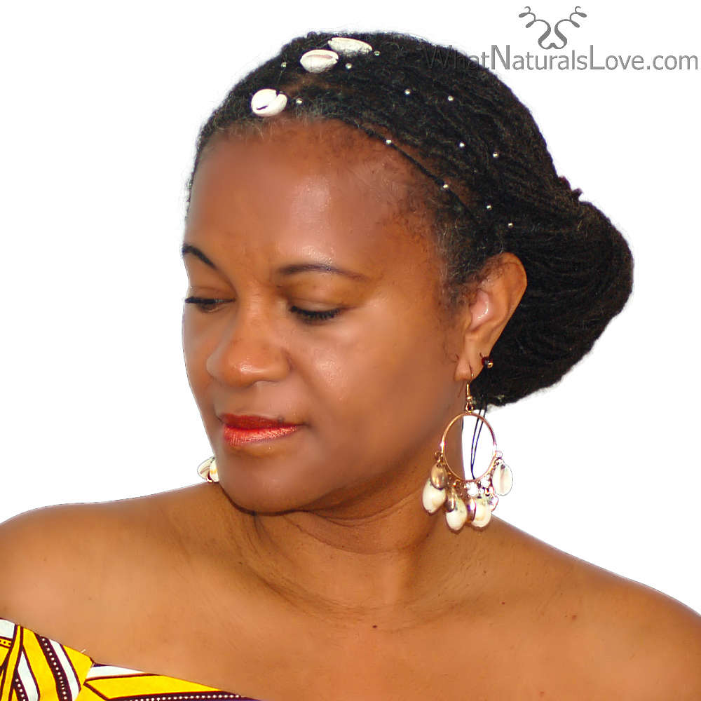 Cowrie Shell Hair Tie for Afro-puffs, Braids and Locs
