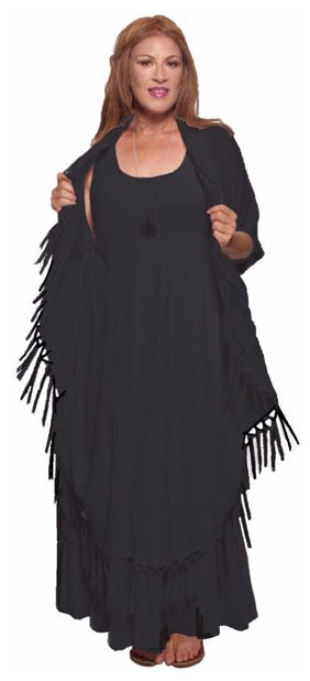 Moroccan Magic Dress with Fringes Black