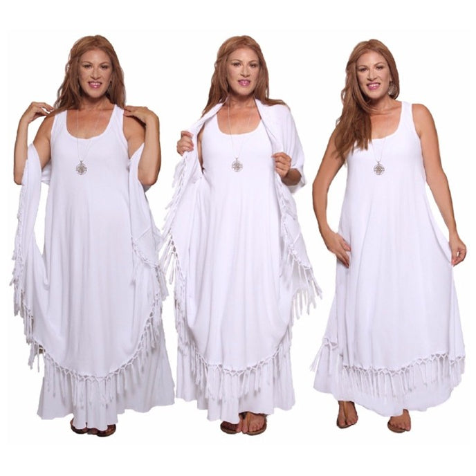 Moroccan Magic Dress with Fringes White