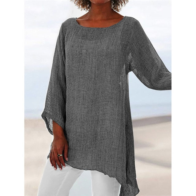 Long Sleeve O-Neck Asymmetric Blouse Tunic