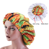 Extra large Satin Lined Bonnet in Ankara print for 4C natural hair and Locs