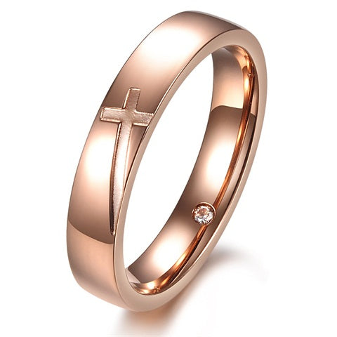 Stainless Steel Silver/Rose Gold Engraved Couple Wedding Rings