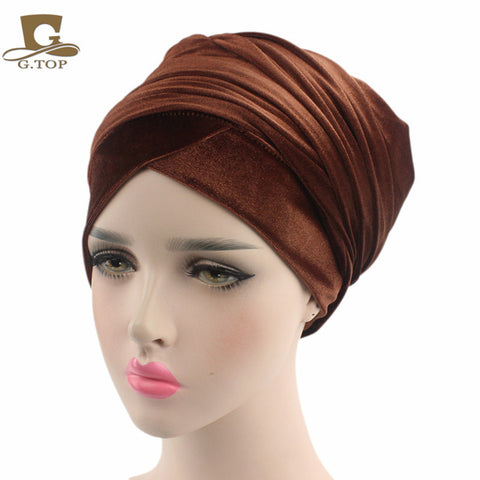 Fashionable velvet turban headwrap