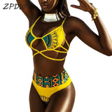 Yellow African Print High waist Bathing Suit for all sizes