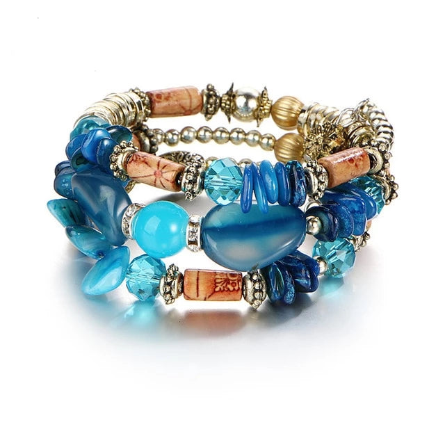 Colorful Multi layer Beads Charm Bracelet