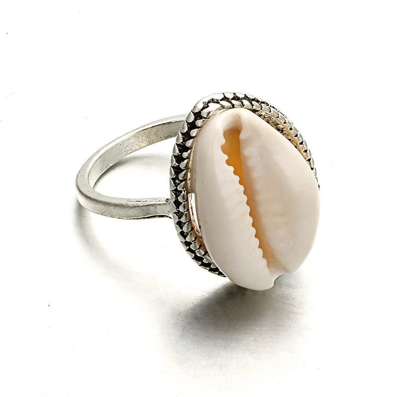 Cowrie Ring Boho Womens Natural Sea Shell Finger Rings
