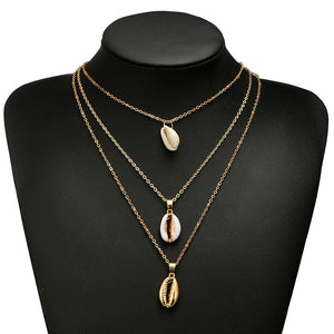 Three Layered Gold Cowrie Shell Necklace