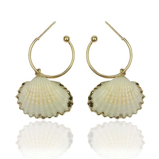 Beautiful chic Cowrie Shell Earrings with gold accents