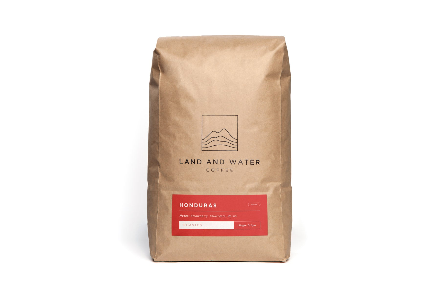 Land and Water Coffee Finca Los Naranjos, Copan Honduras, White Bag with red label on a red background
