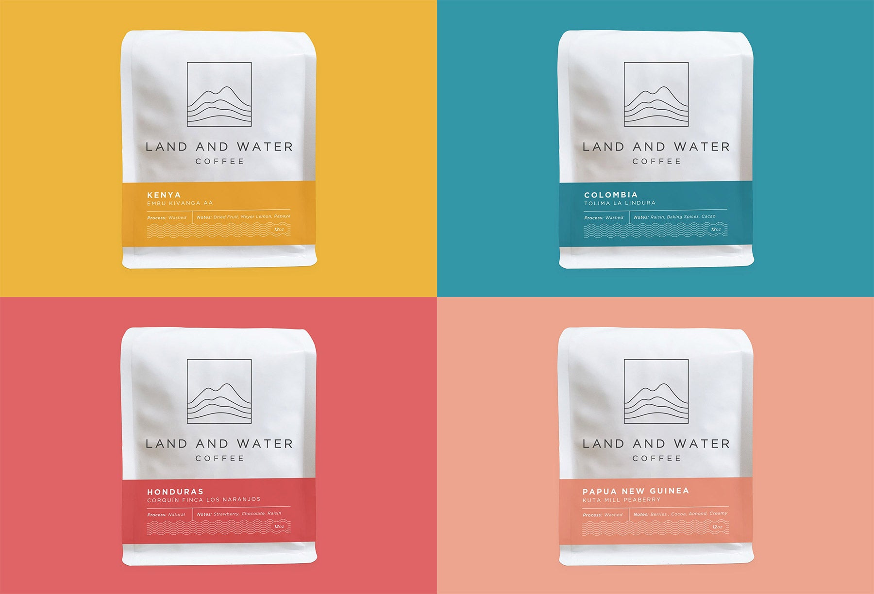 4 Land and Water Coffee bags representing coffee from each origin