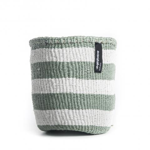 Light Green and White Thick Stripe Basket | Garian