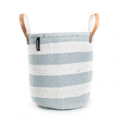 Light Blue and White Thick Stripe Basket with Handles | Garian