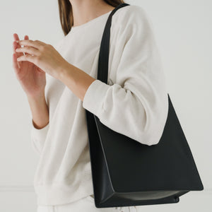 Medium Leather Retail Tote - Black | Garian