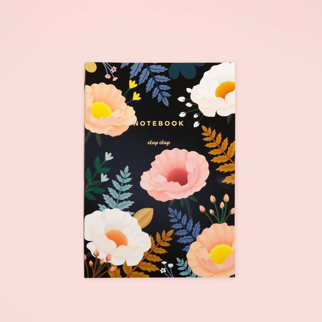 Oriental Poppy Notebook - Black | Garian
