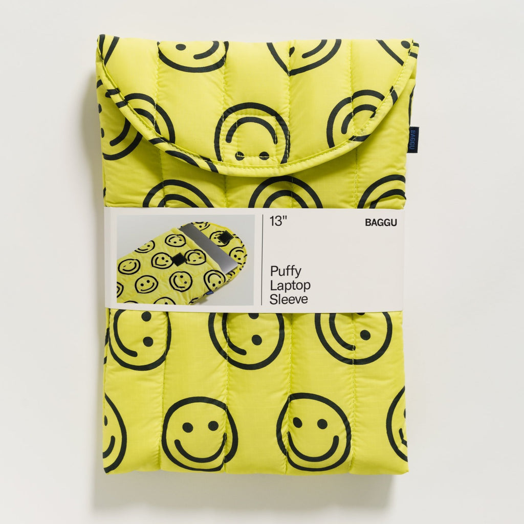 "Baggu Puffy Laptop Sleeve 13"" - Yellow Happy 
