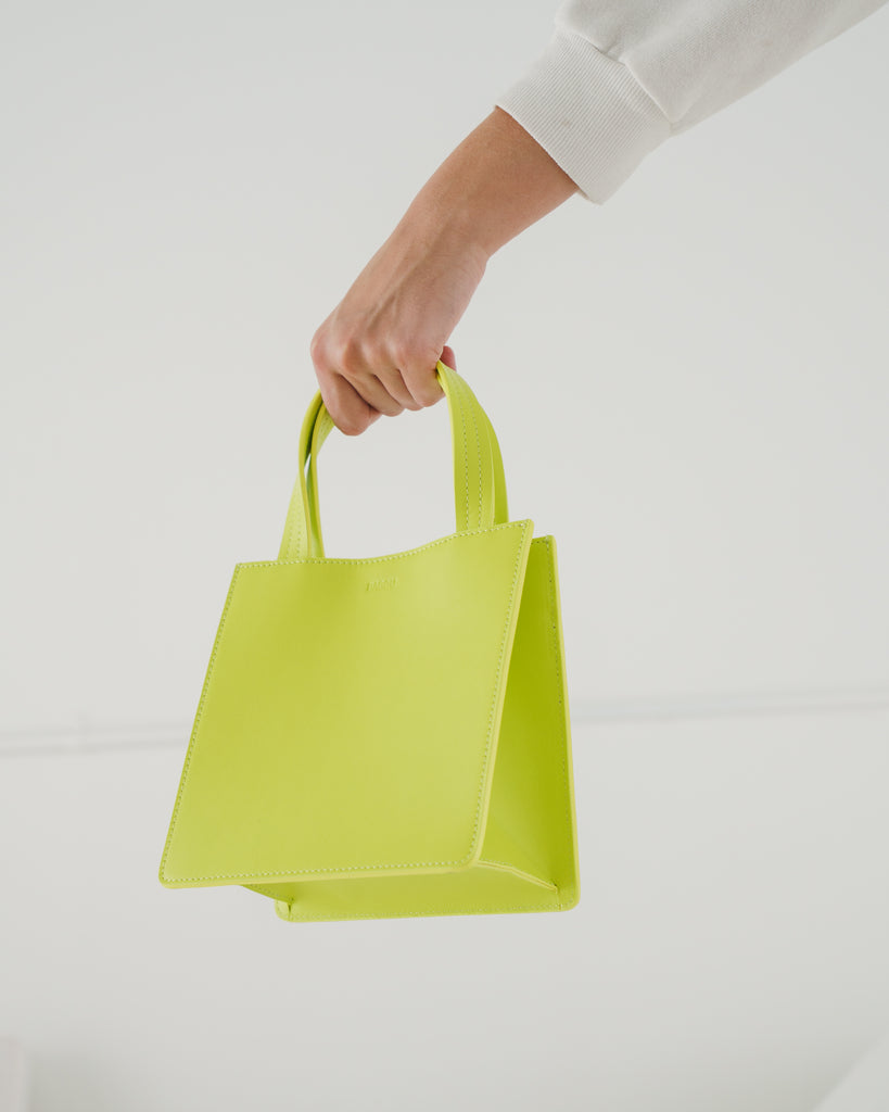 Small Leather Retail Tote - Chartreuse | Garian