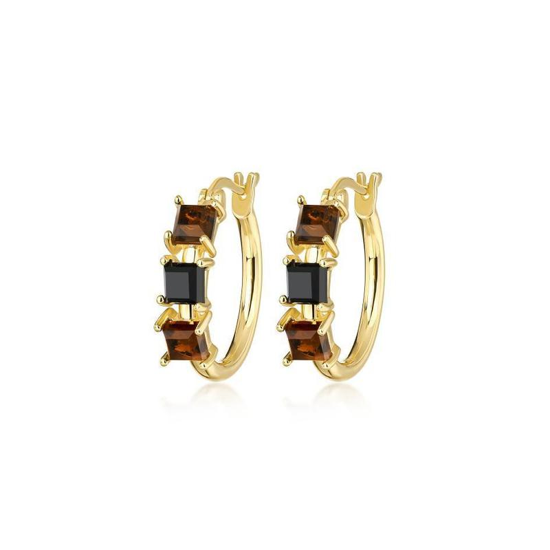 Crue Square Gemstone Hoops | Garian