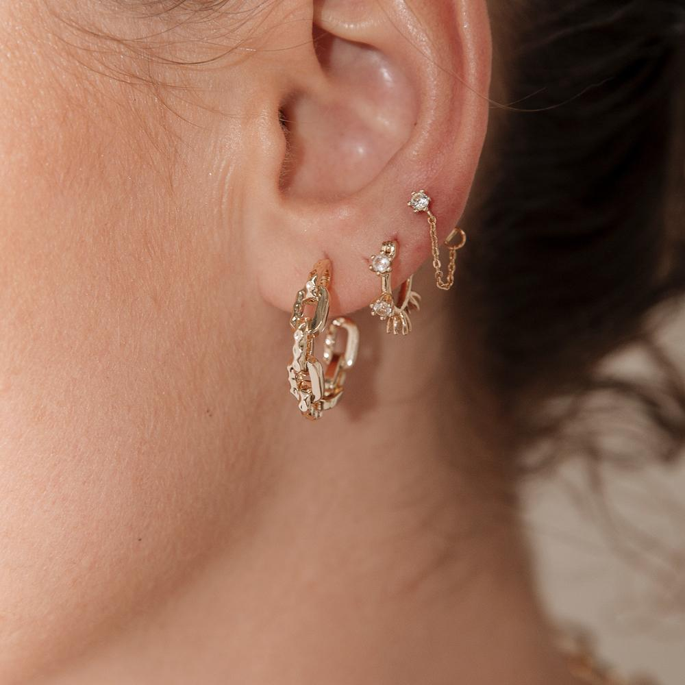 Plant Gemstone Stud and Chain Earrings | Garian