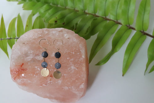 Onyx Sea Shell Hammered Disc Earrings