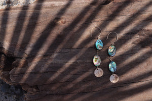 Abalone Tiered Disc Earrings