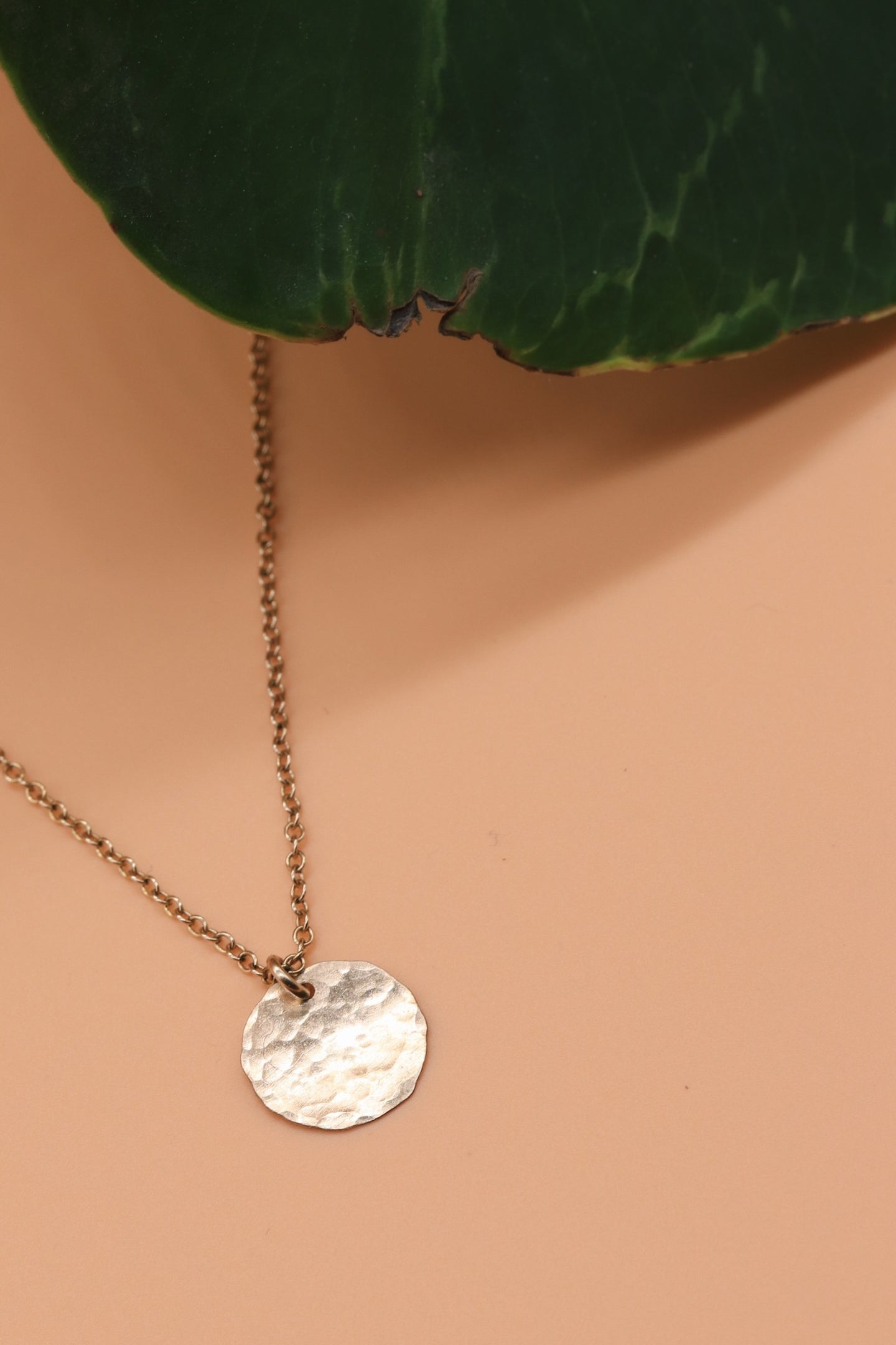 Mini Hammered Coin Necklace