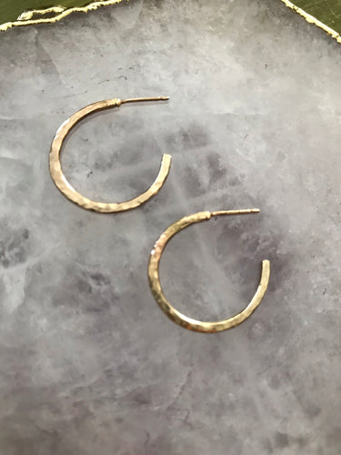 'So Not Basic' Small Hammered Hoop Earrings