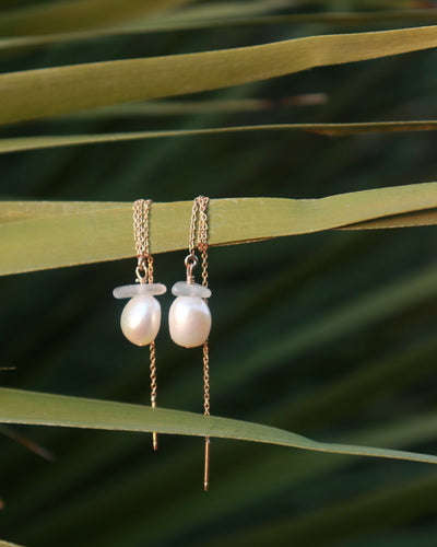 Sea Glass and Pearl Threader Earrings