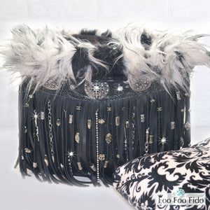 Black Leather Fringe Boho Dog Travel Bucket Bag