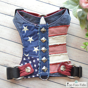 Glory Days Denim Fabric Dog Harness Vest